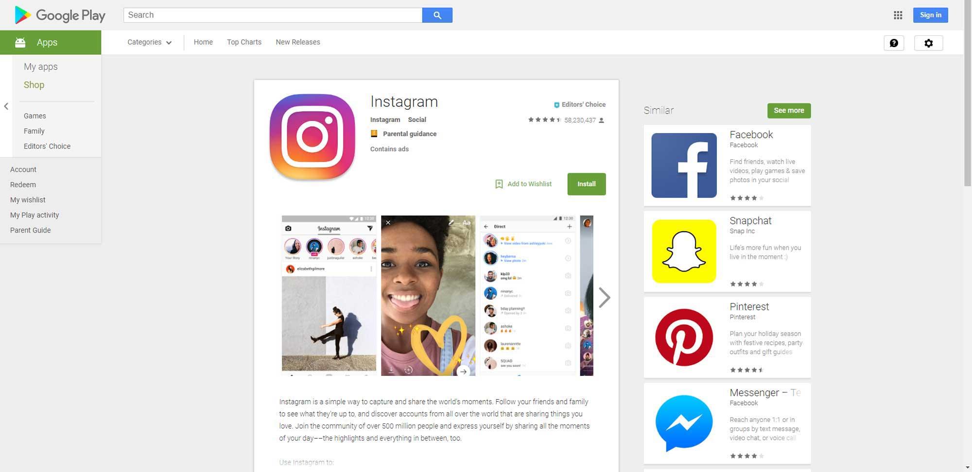 Kako koristiti Instagram za oglasavanje apartmana - instalacija GooglePlay