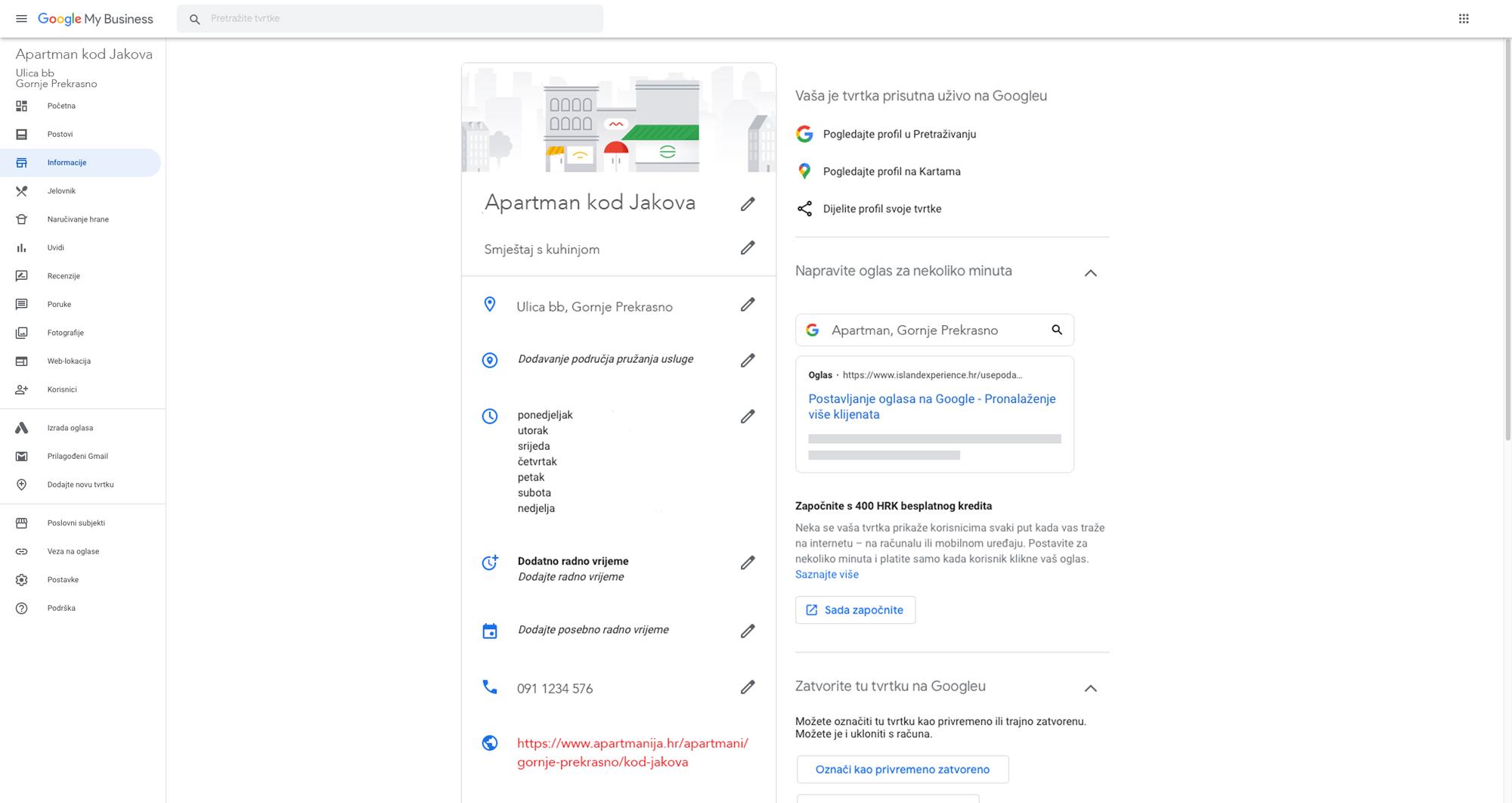 Informacije o tvrtki na Google My Business