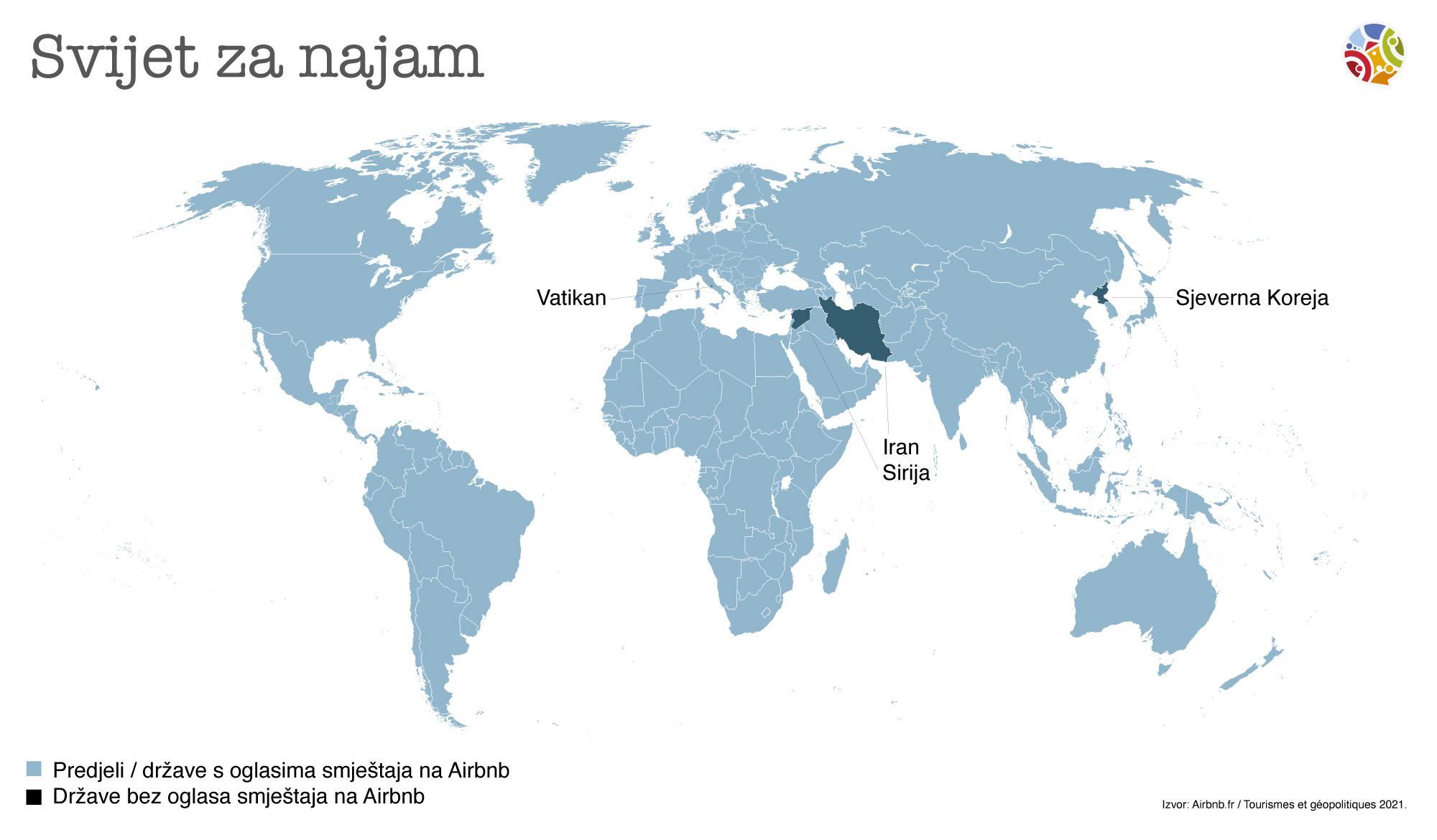 Koje države nemaju nijedan oglas na Airbnb?
