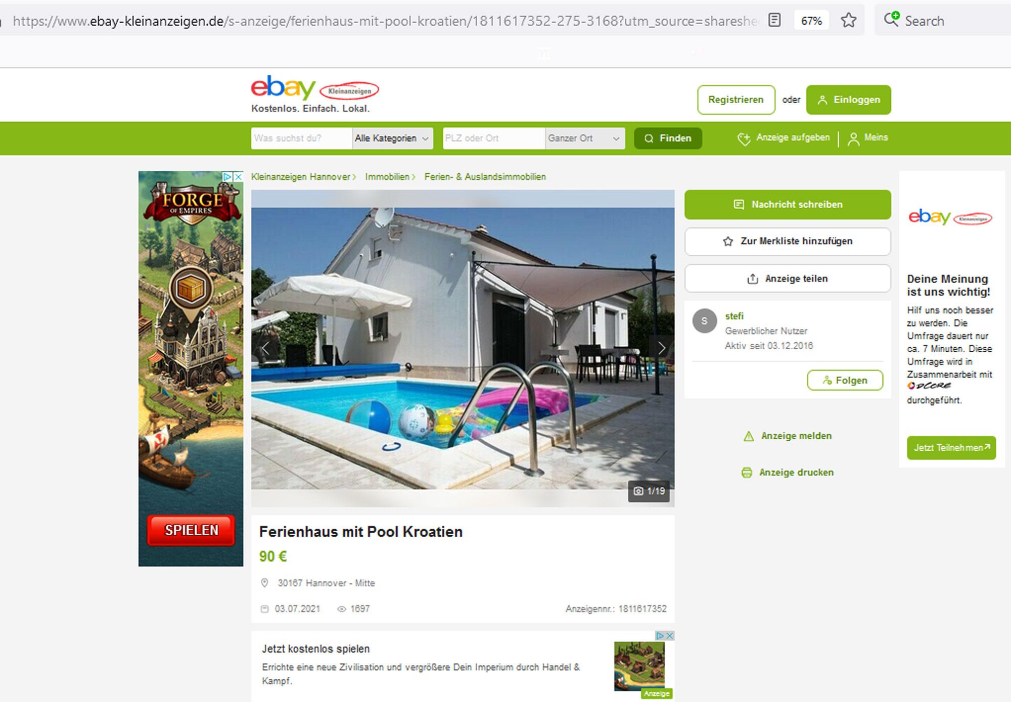 Lažni oglas na eBay Njemačka