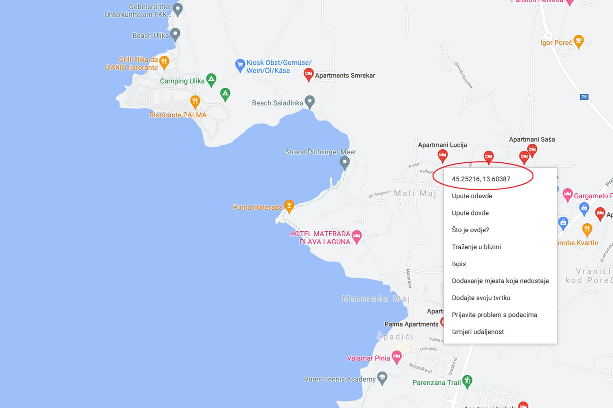 GPS koordinate ggl maps